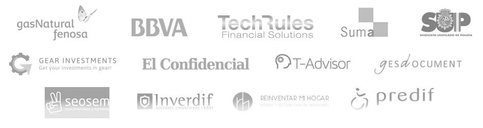 Gas natural, BBVA, Techrules, Suma, SUP, Gear Investments, El Confidencial, T-Advisor, Gesdocument, SeoSEM, Inverdif, Predif, Disney